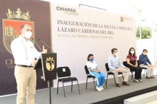 """Rutilio Escandón inaugura reconstrucción de la Escuela Primaria """"Lázaro Cárdenas del Río"""""""